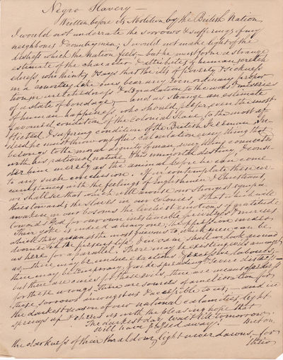 """AUTOGRAPH MANUSCRIPT TRANSCRIPTION BY LEADING ABOLITIONIST THOMAS SCALES OF AN ESSAY, """"NEGRO SLAVERY"""", WHICH HE WROTE PRIOR TO BRITISH ABOLITION [1838]. Presented to the abolitionist Francis Barker of Pontefract., Scales, Thomas. (1786-1860). Leading Brtish abolitionist."""