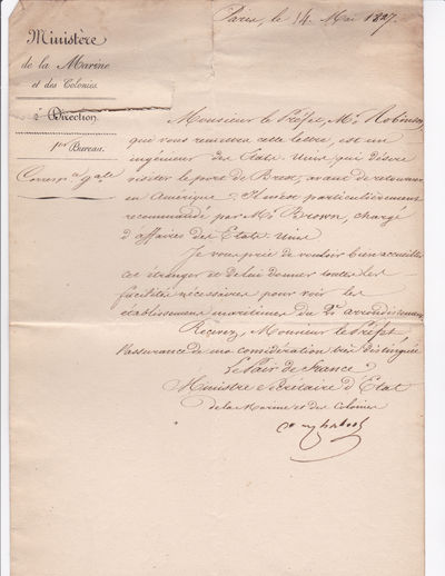 AUTOGRAPH DOCUMENT SIGNED by the French Minister of the Navy CHABROL DE CROUZOL requesting that the Prefet Maritime of the Brest region welcome an American engineer who wishes to visit the port and maritime establishments of the municipality., Chabrol de Crouzol, Christophe Andre Jean de.