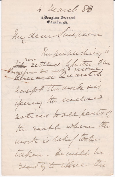 "THREE AUTOGRAPH LETTERS SIGNED BY JAMES FORLONG AT THE TIME OF PUBLICATION OF HIS MAJOR WORK ""RIVERS OF LIFE""., Forlong, James George Roche. (1824-1904), Indian army general. Author of the major work of comparative religion ""Rivers of Life."""