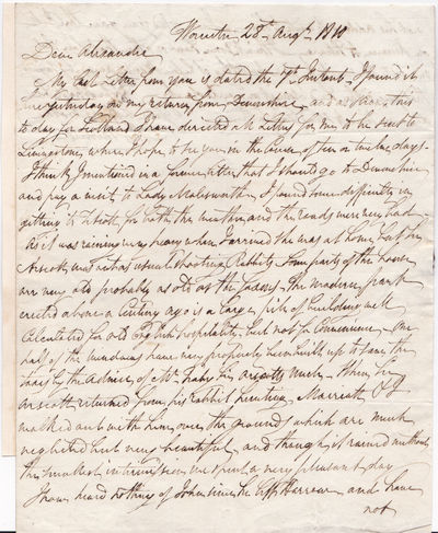 AUTOGRAPH LETTER TO HIS BROTHER ALEXANDER SIGNED BY BRITISH MAJOR-GENERAL AND GOVERNOR OF MADRAS SIR THOMAS MUNRO., Munro, Sir Thomas. (1761-1827). Major-General, Governor of Madras, and a lifelong friend of he Duke of Wellington.