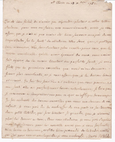 AUTOGRAPH LETTER SIGNED by PRINCESS MARIE CLOTILDE of FRANCE, the future QUEEN of SARDINIA., Clotilde, Marie (1759-1802).  Known as Madame Clotilde, the French princess, sister of Louis XVI, became Queen of Sardinia in 1796.