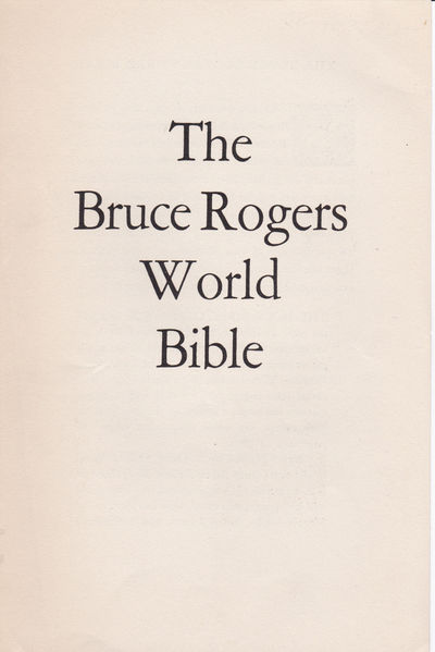 THE BRUCE ROGERS WORLD BIBLE. (Prospectus)., (Rogers, Bruce).