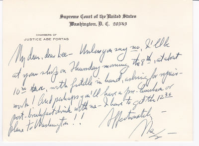 AUTOGRAPH LETTER ON A SUPREME COURT CARD TO THE HEIR TO AND PROPRIETOR OF THE DISTINGUISHED WURLITZER VIOLIN FIRM, SIGNED BY JUSTICE ABE FORTAS., Fortas, Abe. [1910-1982].