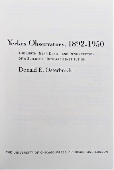 Image for Yerkes Observatory 1892-1950: The Birth, Near Death, and Resurrection of a Scientific Research Institution.
