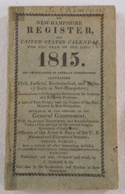 The New-Hampshire Register and United States Calendar For the Year of Our Lord 1815, New Hampshire