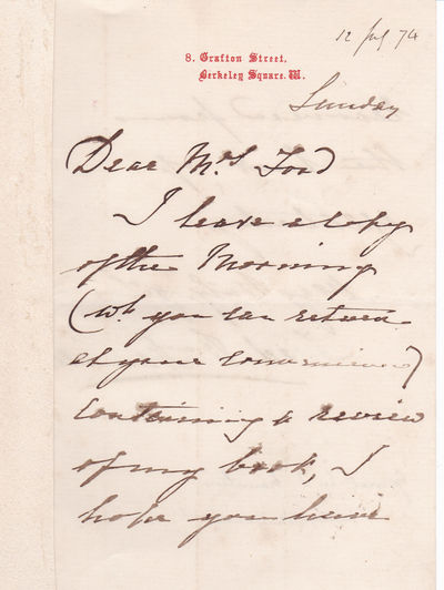 AUTOGRAPH LETTER SIGNED BY GENERAL SIR FREDERICK WILLIAM HAMILTON, COMMANDER OF THE BRIGADE OF GUARDS FROM 1868 to 1870, SENDING A REVIEW OF HIS BOOK ON THE GRENADIER GUARDS., Hamilton, General Sir Frederick William. (1815-1890). British Army officer who served as Major General commanding the Brigade of Guards from 1868 to 1870.
