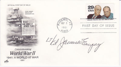 FIRST DAY COVER SIGNED BY WORLD WAR II ACE FIGHTER PILOT JAMES W. EMPEY., Empey, James W. (1924-2013). World War II ace fighter pilot at 20 years old.