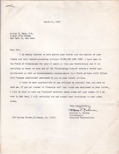 TYPED LETTER TO PSYCHIATRIST AND CRIMINOLOGIST ARTHUR N. FOXE SIGNED BY VIRGINIA PENITENTIARY PSYCHOLOGIST WILLIAM C. PERDUE., Perdue, William C. Virginia Penitentiary psychologist who co-authored several studies on murder and Rorschach stimuli.