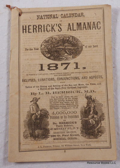 National Calendar, or Herrick's Almanac for the Year of Our Lord 1871, Herrick, L. R., MD