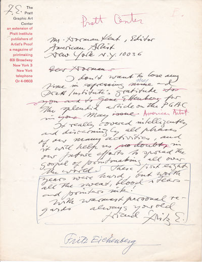 """AUTOGRAPH LETTER TO THE EDITOR OF """"AMERICAN ARTIST"""" SIGNED BY THE WOOD ENGRAVER & ILLUSTRATOR FRITZ EICHENBERG., Eichenberg, Fritz (1901-1990). German-American wood engraver & illustrator."""