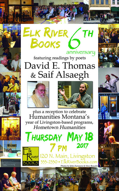 Elk River Books 6th Anniversary Poster, 12 May 2017, Thomas, Dave and Saif Alsaegh