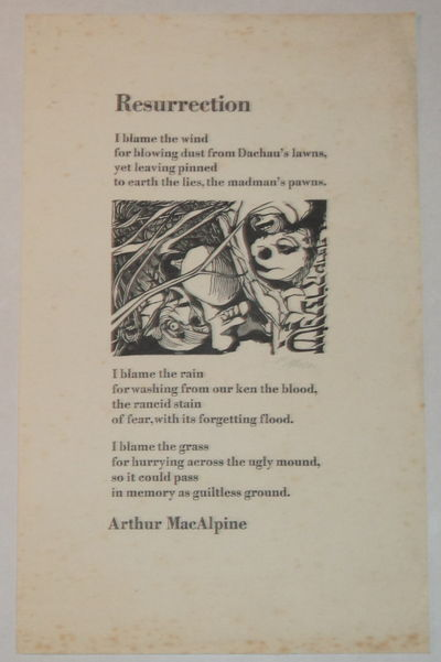 RESURRECTION. [A superb broadside illustrated with a signed woodcut by Barry Moser]., (Moser, Barry). MacAlpine, Arthur.