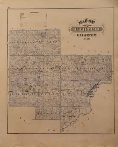 Image for Map of Carver County; Map of Carver and Chaska to verso - from Illustrated Historical Atlas of the State of Minnesota