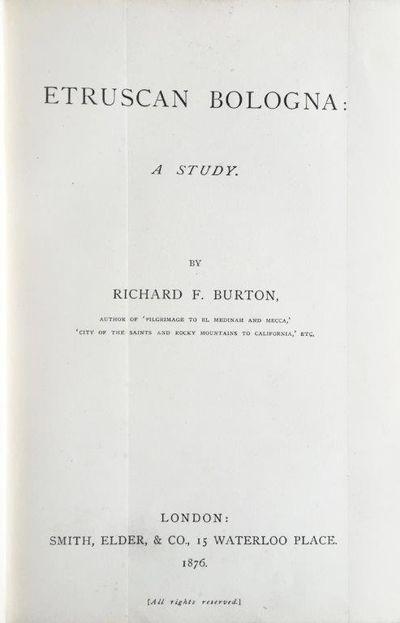 Etruscan Bologna: a study., BURTON, Sir Richard F.