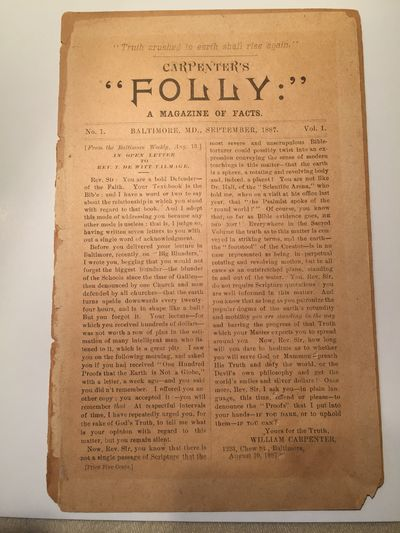Carpenter's Folly Vol 1,  No. 1    Flat Earth Society     Only Existing Copy, Carpenter, William