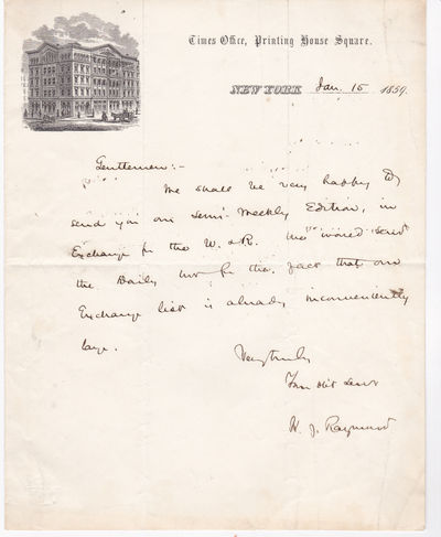 AUTOGRAPH LETTER ON PICTORIAL LETTERHEAD SIGNED BY CO-FOUNDER OF THE NEW YORK TIMES HENRY JARVIS RAYMOND., Raymond, Henry Jarvis. (1820-1869). Journalist and politician who was a co-founder of the New York Times.