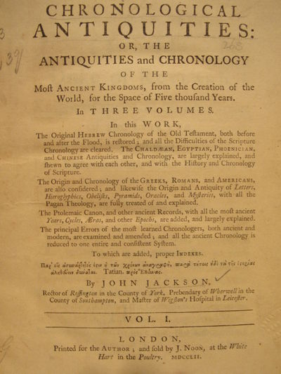 Image for Chronological antiquities: or, the antiquities and chronology of the most  ancient kingdoms, from the creation of the world, for the space of five  thousand years. (3 vol. set)