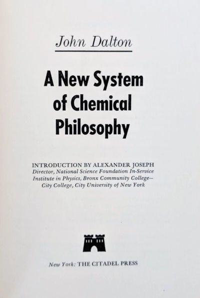 Image for A New System of Chemical Philosophy. Introduction by Alexander Joseph.