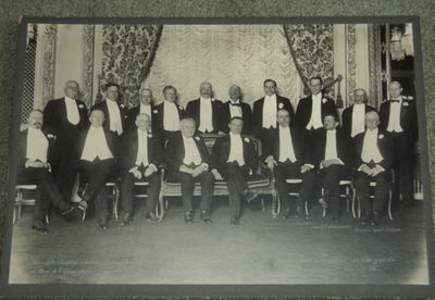 """TWO ORIGINAL LARGE VINTAGE PHOTOGRAPHS DEPICTING EMINENT JUSTICES AND LAWYERS PRESENT AT ANNUAL DINNERS OF THE NEW YORK STATE BAR ASSOCIATION. The photographs are respectively titled: """"Associate Justice Charles E. Hughes of the Supreme Court and a group of eminent lawyers assembled as the guests of Hon. A.T. Clearwater, President of the New York State Bar Association, at a dinner, Hotel Astor, Jan. 14, '16."""" [And]: """"Officers and Guests, Annual Dinner New York State Bar Association, January 12th, 1918. Hotel Astor, N.Y."""", (Underwood & Underwood). (Hughes, Charles E., Associate Justice of the U.S. Supreme Court; and others)"""