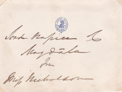 SLIP OF PAPER INSCRIBED AND SIGNED BY INDIAN ARMY OFFICER ROBERT NAPIER, 1ST BARON NAPIER OF MAGDALA., Napier, Robert, 1st Baron Napier of Magdala. (1810-1890). Indian Army officer who saw action during the Indian mutiny and during the second relief of Lucknow in 1858.