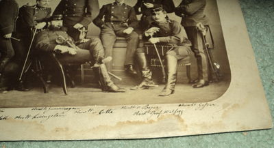 A VINTAGE 19TH CENTURY PHOTOGRAPH DEPICTING A GROUP OF 8 GERMAN MILITARY OFFICERS IN FULL DRESS UNIFORM, (German Oberleutnants)