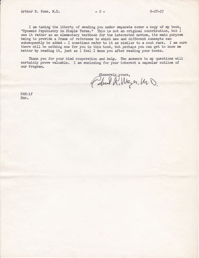 Image for TWO TYPED LETTERS TO PSYCHIATRIST AND CRIMINOLOGIST DR. ARTHUR N. FOXE SIGNED BY PSYCHIATRIST ROBERT R. MEZER.