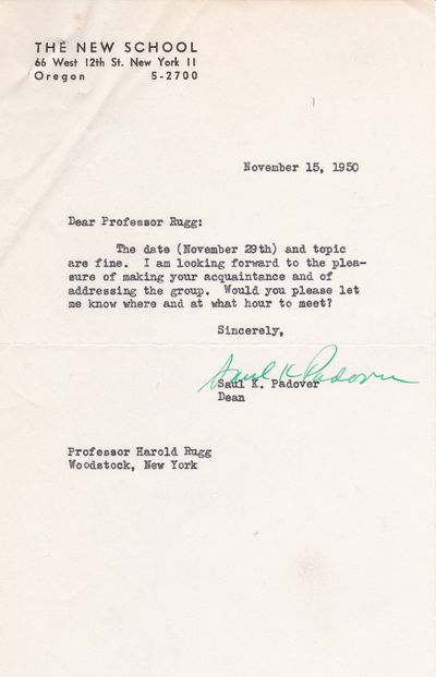 TYPED LETTER SIGNED BY HISTORIAN AND POLITICAL SCIENTIST SAUL K. PADOVER AS DEAN OF THE NEW SCHOOL FOR SOCIAL RESEARCH., Padover, Saul K. (1905-1981). A historian and political scientist at the New School for Social Research in New York City.