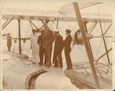 Image for Original silver gelatin photograph of Lindbergh inspecting a Sikorsky S-42  Pan Am Clipper.