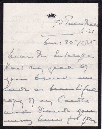 AUTOGRAPH LETTER SIGNED BY PRINCESS MARIE LOUISE TO BOOKBINDER GEORGE SUTCLIFFE., Princess Marie-Louise. (1872-1956), Granddaughter of Queen Victoria, wife of Prince Albert of Anhalt.