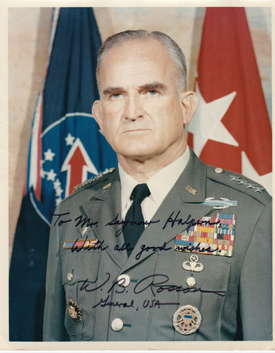 PHOTOGRAPH INSCRIBED AND SIGNED BY GENERAL WILLIAM B. ROSSON, COMMANDER IN CHIEF, U.S. ARMY, PACIFIC., Rosson, General William B. (1918-2004). Commander in Chief, U.S. Army, Pacific (1970-73). He earned the Distinguished Service Cross for valor on the Anzio Beachhead in Italy.