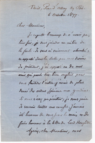AUTOGRAPH LETTER SIGNED BY FRENCH STATESMAN AND PHILOSOPHER JULES BARTHELEMY-SAINT-HILAIRE., Barthelemy-Saint-Hilaire, Jules. (1805-1895). French statesman and philosopher who translated Aristotle.