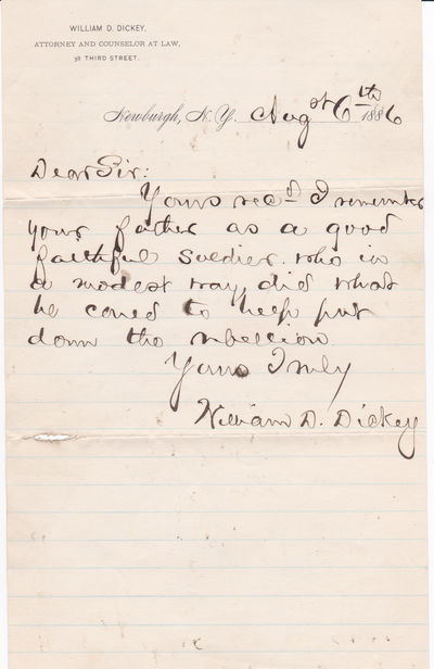 AUTOGRAPH LETTER SIGNED by CIVIL WAR MEDAL OF HONOR recipient WILLIAM D. DICKEY., Dickey, William D. (1845-1924). Civil War officer who was awarded the Medal of Honor for his actions in the Siege of Petersburg