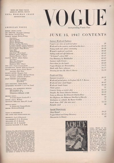 Image for Vogue Magazine, June 15, 1947 Week-end Plans