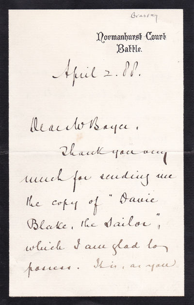 """AUTOGRAPH LETTER REFERRING TO MARY SEWELL'S JUVENILE """"DAVIE BLAKE THE SAILOR"""", SIGNED BY YACHTSMAN THOMAS BRASSEY., Brassey, Thomas, 1st Earl Brassey; (1836-1918). Governor of Victoria (Australia), 1895-1900. He circumnavigated the world in his yacht Sunbeam."""