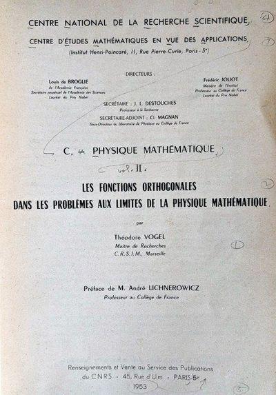 Image for Les Fonctions Orthogonales dans les Problemes aux Limites de la Physique Mathematique.