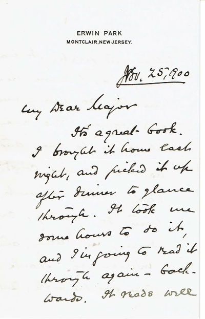 "Image for AUTOGRAPH LETTER SIGNED BY AMERICAN EDITOR AND PUBLISHER WILLIAM BAILEY HOWLAND, PRAISING MAJOR J. B. POND'S BOOK ""ECCENTRICITIES OF GENIUS""."