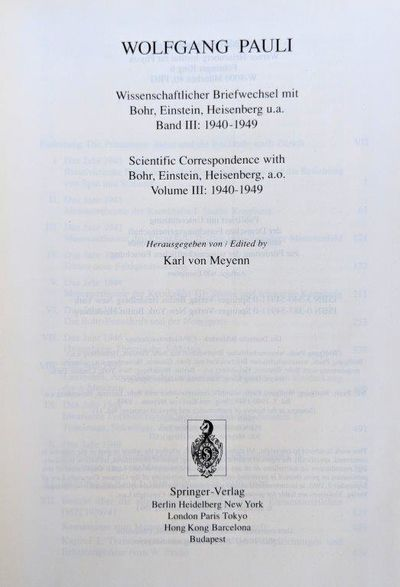 Image for Scientific Correspondence with Bohr, Einstein, Heisenberg a.o. Volume III: 1940-1949.