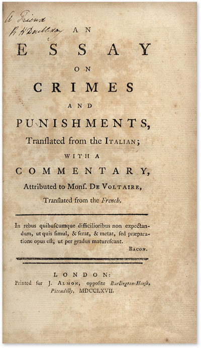 beccaria essay Two hugely influential thinkers in the area of criminology are cesare beccaria and cesare lombroso who have expressed views and formulated many.