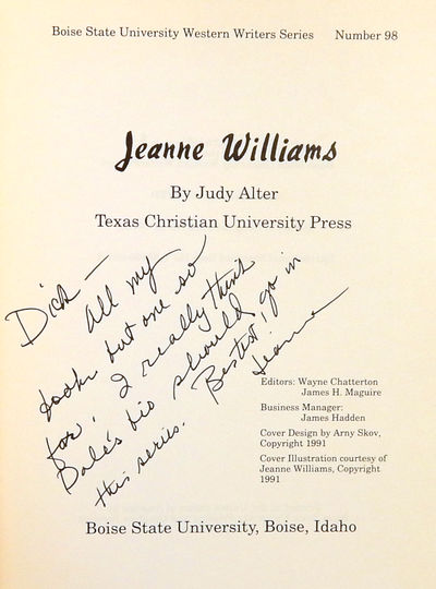 Image for Jeanne Williams: Western Writers Series No. 98
