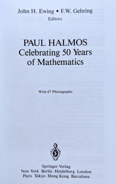 Image for Paul Halmos, Celebrating 50 years of Mathematics.
