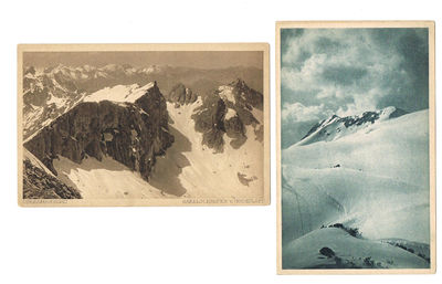 2 PHOTOGRAPHIC POSTCARDS OF THE AUSTRIAN ALPS BY THE NOTED NATURALIST HERBERT LANG, Lang, Herbert (1879-1957)