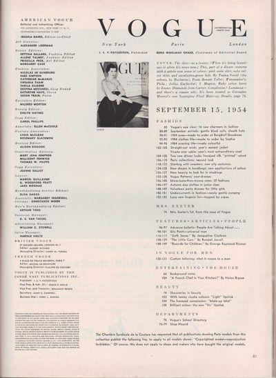 Image for Vogue Magazine, September 15, 1954