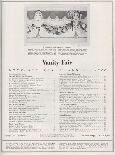 Image for Vanity Fair Magazine, March, 1922