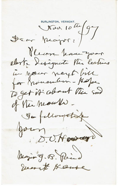 """AUTOGRAPH LETTER SIGNED BY UNION ARMY MAJOR GENERAL OLIVER OTIS HOWARD TO MAJOR J. B. POND ABOUT A LECTURE SERIES., Howard, Major General Oliver Otis. (1830-1909). Known as the """"Christian General"""" he gained a reputation as an efficient and courageous general even though his troops often performed poorly."""
