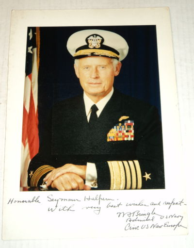 COLOR PHOTOGRAPH INSCRIBED TO CONGRESSMAN SEYMOUR HALPERN AND SIGNED BY U.S. ADMIRAL WILLIAM BRINGLE., Bringle, Admiral William Floyd, USN. (1913-1999). As a four star Admiral, he was Commander, U.S. Naval Forces Europe (1971-73).