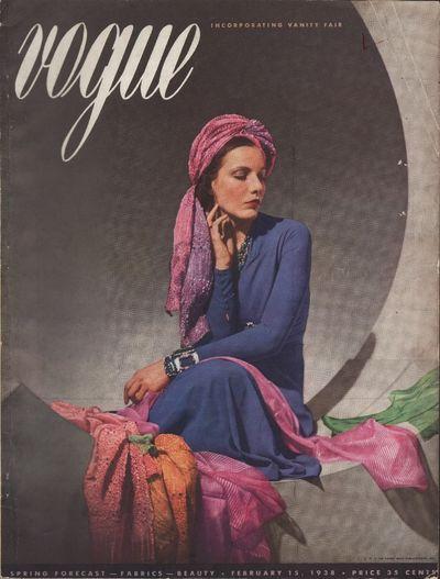 Image for Vogue Magazine, February 15, 1938 Spring Forecast - Fabrics - Beauty