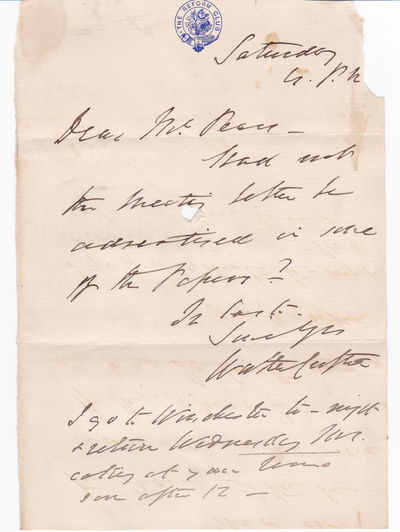 """AUTOGRAPH LETTER SIGNED BY SIR WALTER CROFTON SUGGESTING A MEETING BE ADVERTISED IN MORE PAPERS., Crofton, Sir Walter (1815-1897). Irish prison reformer who developed a system of prison administration known as the """"Irish System""""."""