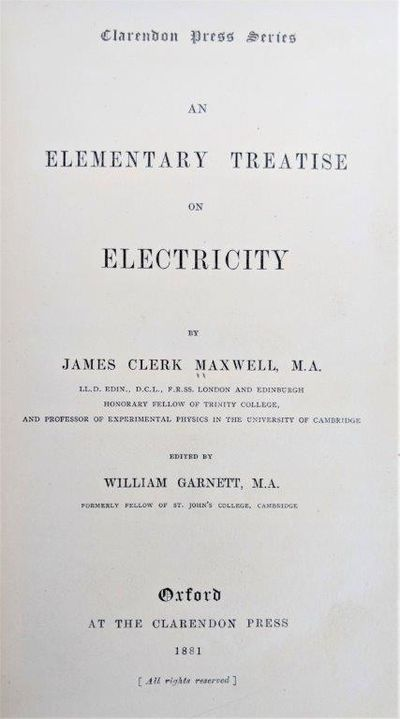 Image for An Elementary Treatise on Electricity.