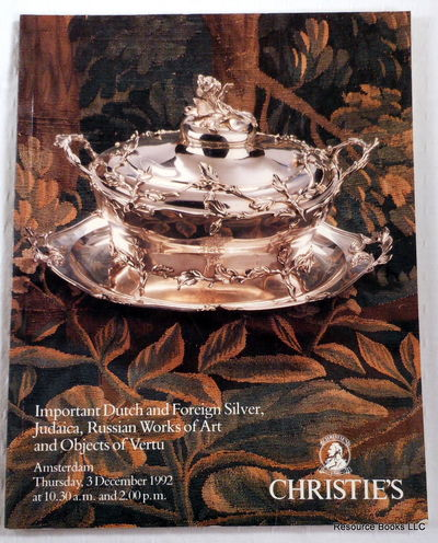 Important Dutch and Foreign Silver, Judaica, Russian Works of Art and Objects of Vertu.  Christie's Amsterdam: December 3, 1992.  Sale 2190, Chrisitie's [Auction Catalogue]
