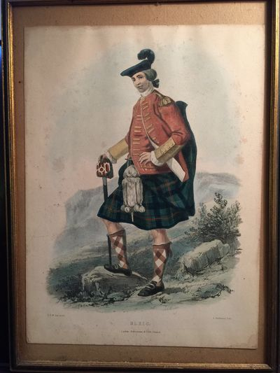 """L. Dickinson Hand Colored Lithograph """"Ulric"""" Scottish Highland Clan, R.R. McIan"""